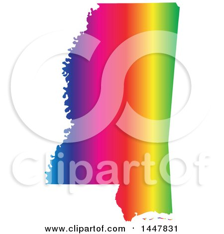 Clipart of a Gradient Rainbow Map of Mississippi, United States of America - Royalty Free Vector Illustration by Jamers
