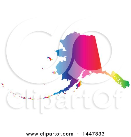 Clipart of a Gradient Rainbow Map of Alaska, United States of America - Royalty Free Vector Illustration by Jamers