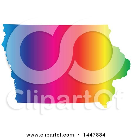 Clipart of a Gradient Rainbow Map of Iowa, United States of America - Royalty Free Vector Illustration by Jamers
