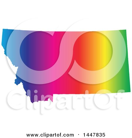 Clipart of a Gradient Rainbow Map of Montana, United States of America - Royalty Free Vector Illustration by Jamers