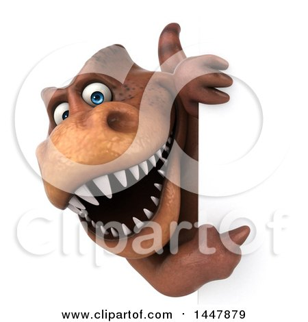 Clipart of a 3d Tommy Tyrannosaurus Rex Dinosaur Mascot Pointing Around a Sign, on a White Background - Royalty Free Illustration by Julos