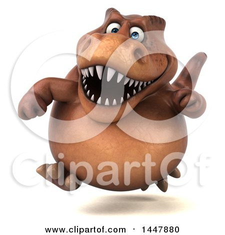 Clipart of a 3d Tommy Tyrannosaurus Rex Dinosaur Mascot Running, on a White Background - Royalty Free Illustration by Julos