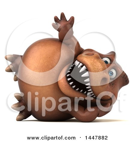 Clipart of a 3d Tommy Tyrannosaurus Rex Dinosaur Mascot Resting on His Side and Waving, on a White Background - Royalty Free Illustration by Julos