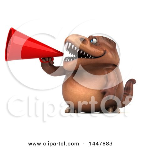 Clipart of a 3d Tommy Tyrannosaurus Rex Dinosaur Mascot Announcing with a Megaphone, on a White Background - Royalty Free Illustration by Julos