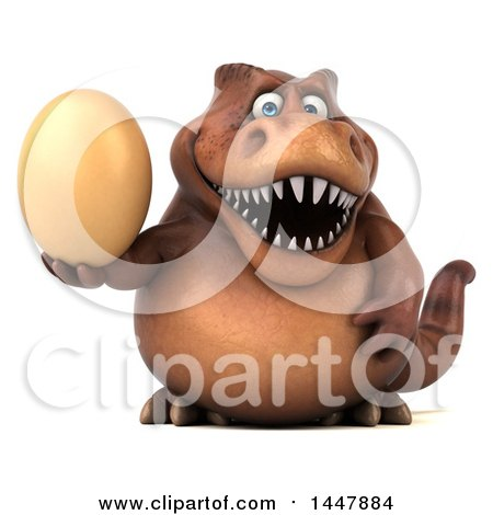 Clipart of a 3d Tommy Tyrannosaurus Rex Dinosaur Mascot Holding an Egg, on a White Background - Royalty Free Illustration by Julos