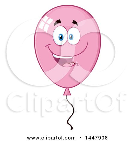Clipart of a Cartoon Pink Party Balloon Character - Royalty Free Vector Illustration by Hit Toon