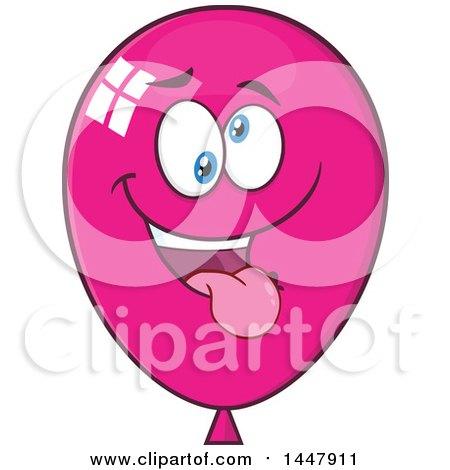Clipart of a Cartoon Goofy Magenta Party Balloon Mascot - Royalty Free Vector Illustration by Hit Toon