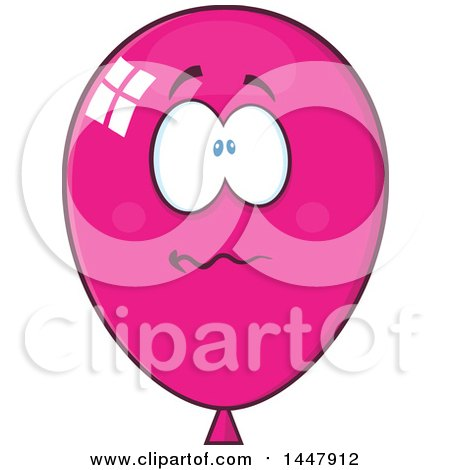 Clipart of a Cartoon Stressed Magenta Party Balloon Mascot - Royalty Free Vector Illustration by Hit Toon