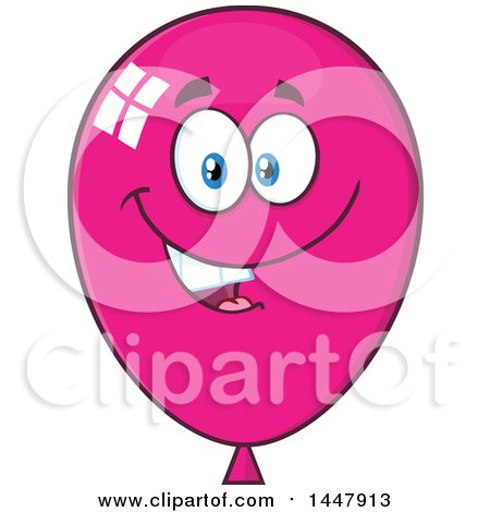 Clipart of a Cartoon Happy Magenta Party Balloon Mascot - Royalty Free Vector Illustration by Hit Toon