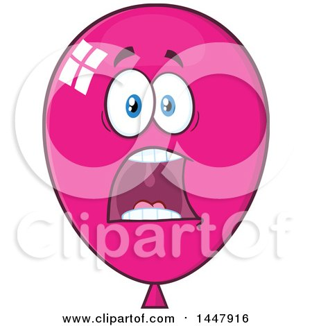 Clipart of a Cartoon Screaming Magenta Party Balloon Mascot - Royalty Free Vector Illustration by Hit Toon