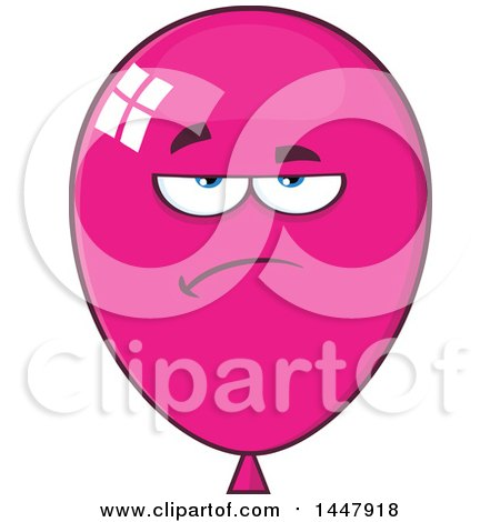 Clipart of a Cartoon Bored Magenta Party Balloon Mascot - Royalty Free Vector Illustration by Hit Toon