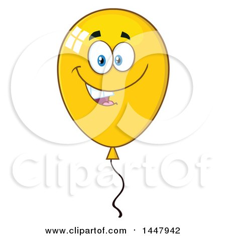 Clipart of a Cartoon Yellow Party Balloon Character - Royalty Free Vector Illustration by Hit Toon