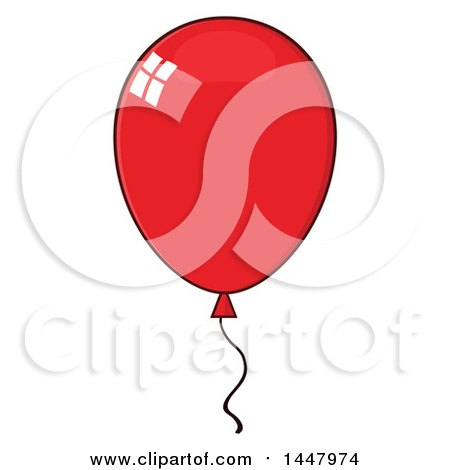 Clipart of a Cartoon Red Party Balloon - Royalty Free Vector Illustration by Hit Toon