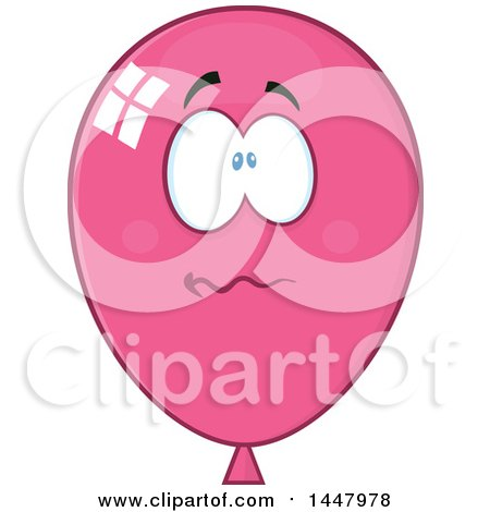 Clipart of a Cartoon Stressed Pink Party Balloon Mascot - Royalty Free Vector Illustration by Hit Toon