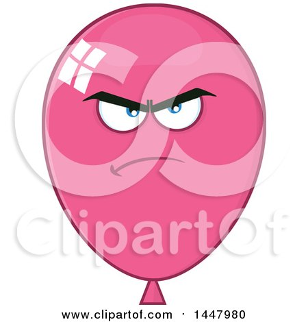 Clipart of a Cartoon Mad Pink Party Balloon Mascot - Royalty Free Vector Illustration by Hit Toon