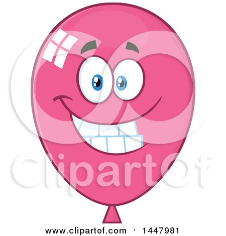 Clipart of a Cartoon Happy Pink Party Balloon Mascot - Royalty Free Vector Illustration by Hit Toon