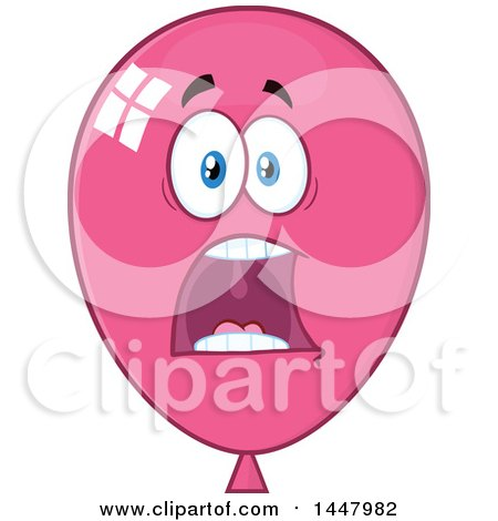 Clipart of a Cartoon Screaming Pink Party Balloon Mascot - Royalty Free Vector Illustration by Hit Toon