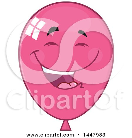 Clipart of a Cartoon Laughing Pink Party Balloon Mascot - Royalty Free Vector Illustration by Hit Toon