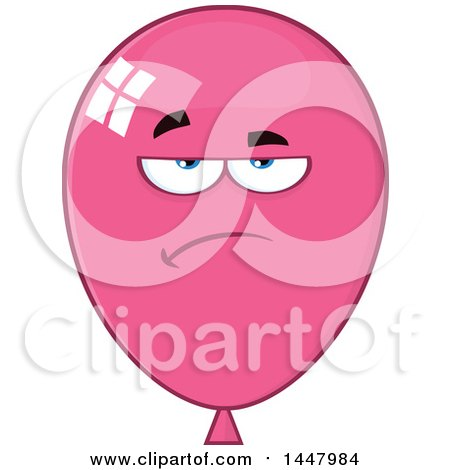 Clipart of a Cartoon Bored Pink Party Balloon Mascot - Royalty Free Vector Illustration by Hit Toon