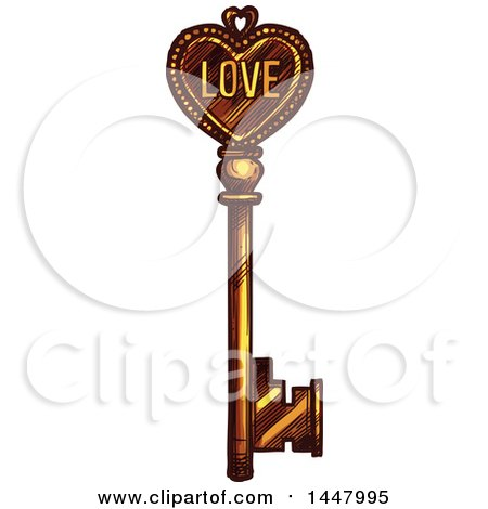 Clipart of a Sketched Golden Heart Skeleton Key - Royalty Free Vector Illustration by Vector Tradition SM