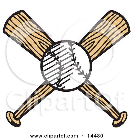 White Baseball Over Two Wooden Baseball Bats Clipart Illustration