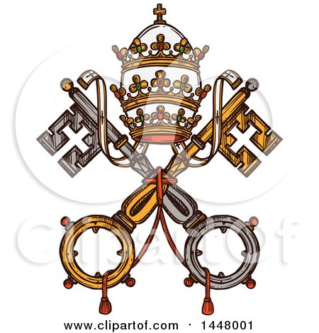 Clipart of a Sketched Design of Vatican Heraldic Keys State Official Symbol on Flag and Coat of Arms - Royalty Free Vector Illustration by Vector Tradition SM