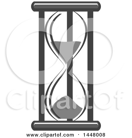 Clipart of a Grayscale Hourglass Timer - Royalty Free Vector Illustration by Vector Tradition SM