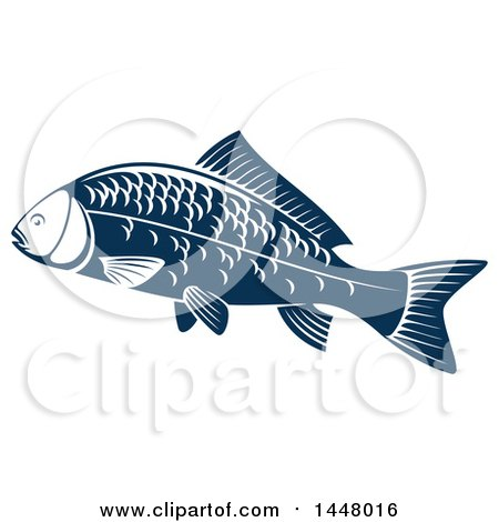 Clipart of a Navy Blue Carp Fish - Royalty Free Vector Illustration by Vector Tradition SM
