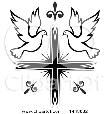 Clipart of a Black and White Easter Cross with Doves - Royalty Free Vector Illustration by Vector Tradition SM