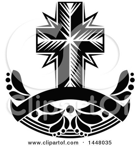Clipart of a Black and White Easter Cross over a Blank Ribbon Banner - Royalty Free Vector Illustration by Vector Tradition SM