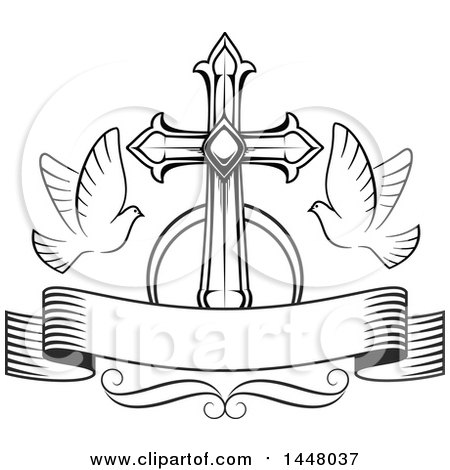 Clipart Black And White Heraldic Cross With Talons And Wings