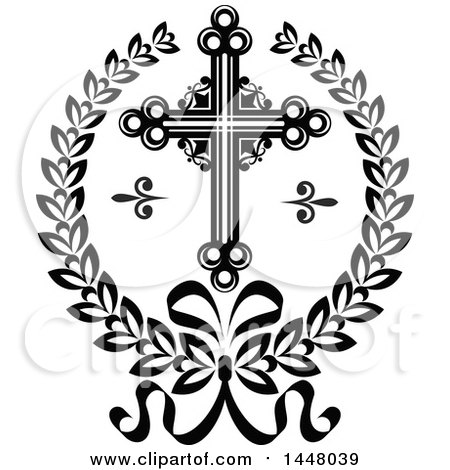 Clipart of a Black and White Ornate Easter Cross in a Laurel Wreath - Royalty Free Vector Illustration by Vector Tradition SM