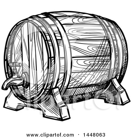 Clipart of a Black and White Sketched Beer Keg Barrel - Royalty Free Vector Illustration by Vector Tradition SM