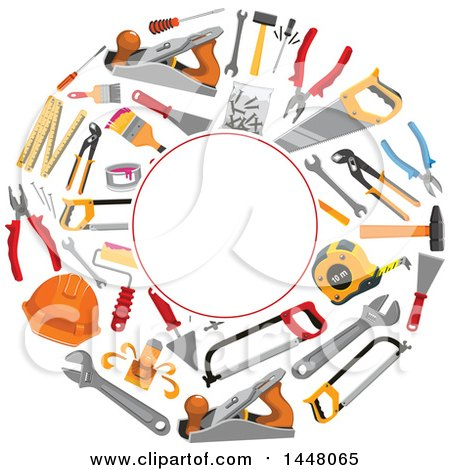 Clipart of a Circle Frame of Tools - Royalty Free Vector Illustration by Vector Tradition SM