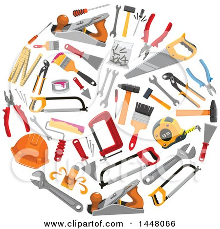 Clipart of a Circle of Tools - Royalty Free Vector Illustration by Vector Tradition SM