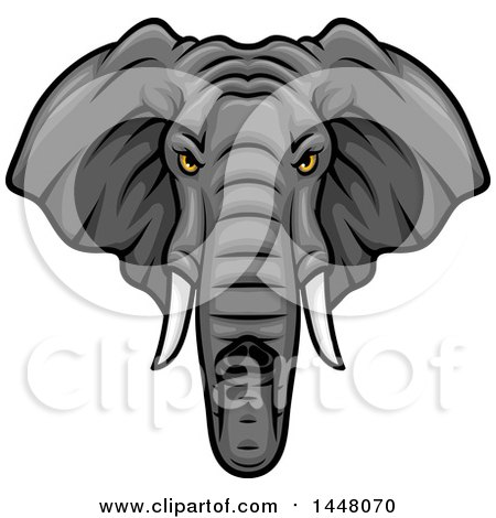 Clipart of a Vicious Elephant Mascot Face - Royalty Free Vector Illustration by Vector Tradition SM