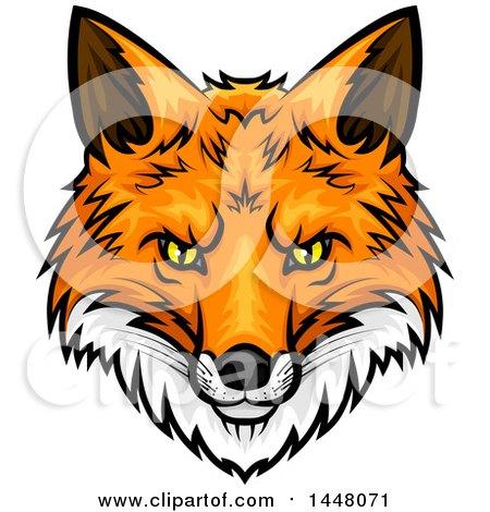 Aninimal Book: Clipart of a Vicious Fox Mascot Face - Royalty Free Vector ...