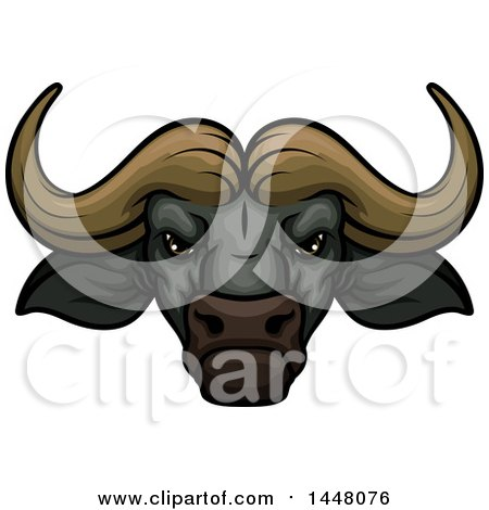 Clipart of a Vicious Water Buffalo Mascot Face - Royalty Free Vector Illustration by Vector Tradition SM