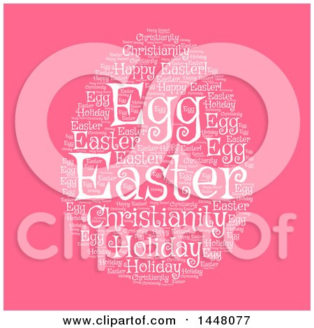 Clipart of a White Word Collage Forming an Easter Egg on Pink - Royalty Free Vector Illustration by Vector Tradition SM