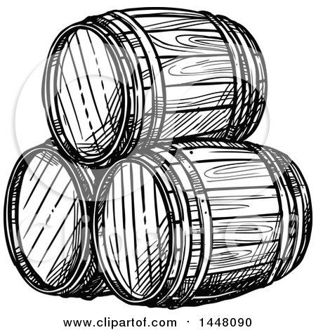 Clipart of Black and White Sketched Beer Keg Barrels - Royalty Free Vector Illustration by Vector Tradition SM