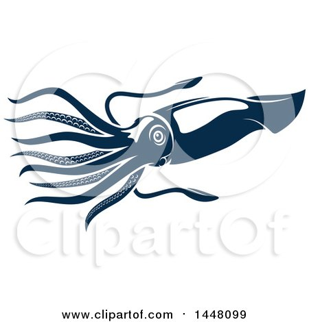 Clipart of a Navy Blue Squid - Royalty Free Vector Illustration by Vector Tradition SM