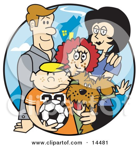 Happy Family of Four With a Dog and a Soccer Ball  Posters, Art Prints
