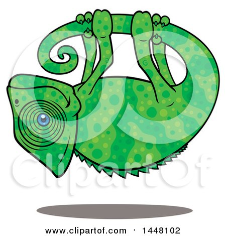 Clipart of a Cartoon Chameleon Hanging Upside down from His Own Tail - Royalty Free Vector Illustration by John Schwegel