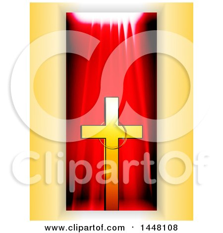 Clipart of a Gold Cross with a Ring over a Red Drape Panel on Yellow - Royalty Free Vector Illustration by elaineitalia