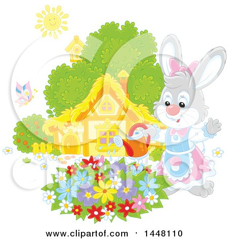 Clipart of a Happy Female Bunny Rabbit Watering a Flower Garden on a Spring Day - Royalty Free Vector Illustration by Alex Bannykh