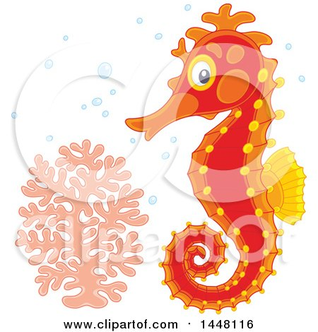 Clipart of an Adorable Red Seahorse by Coral - Royalty Free Vector Illustration by Alex Bannykh