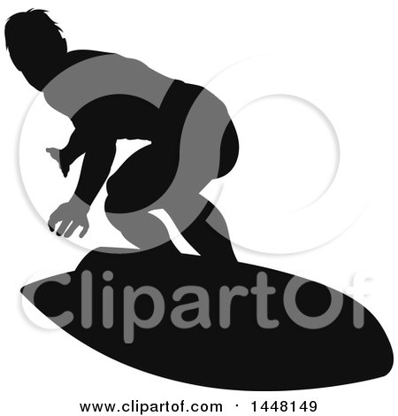 Clipart of a Black Silhouetted Man Surfing - Royalty Free Vector Illustration by AtStockIllustration