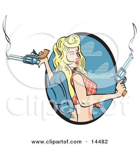 Beautiful Cowgirl With Blond Hair Wearing A Short Shirt And Blue Cowboy Hat And Holding Two Smoking Pistils Clipart Illustration