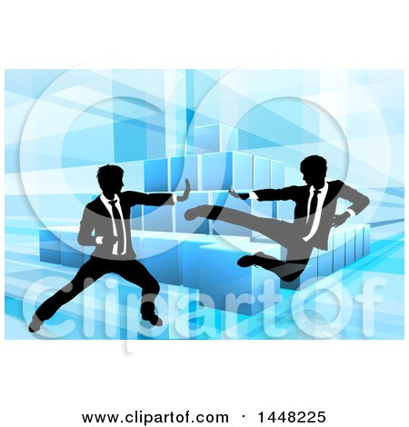 Clipart of Black and White Silhouetted Business Men Fighting over Blocks on Blue - Royalty Free Vector Illustration by AtStockIllustration