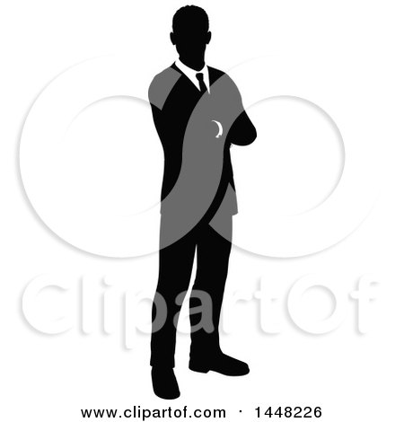 Clipart of a Black and White Silhouetted Business Man Standing with Folded Arms - Royalty Free Vector Illustration by AtStockIllustration